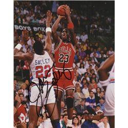 John Salley Signed Photo Guarding Michael Jordan