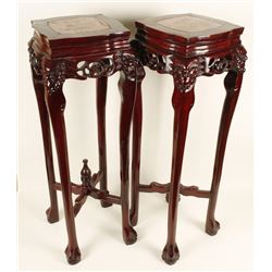 2 Rosewood Plant Stands with Marble Inserts