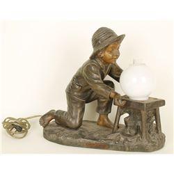 Antique Bronze Statue Lamp