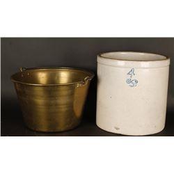 #4 Crock and a Brass Bucket