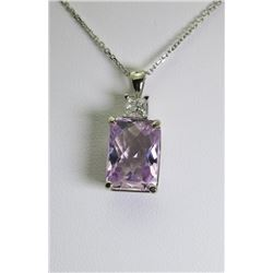Kunzite & Diamond Pendant
