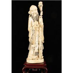 Chinese Ivory Figure on Wood Base