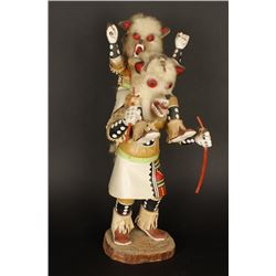 Handcarved White Wolf Kachina By T. Nez