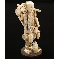 Chinese Ivory Figure on Wood Base
