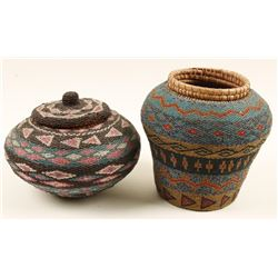 2 Ethnic Glass Beaded Baskets