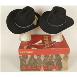 Lot of 2 Black Cowboy Hats With Hatbands
