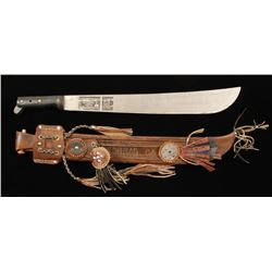 Machete with Leather Scabbard