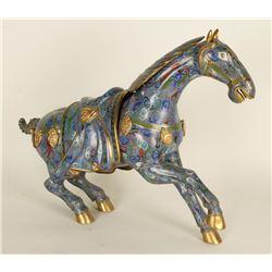 Asian Blue Cloisonne Horse