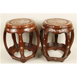 2 Asian Rosewood Mother of Pearl Inlaid Stools