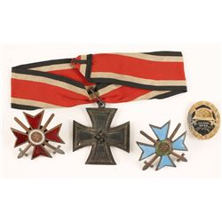 Framed Display of WWII German Repro Medals