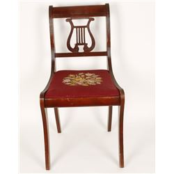 Antique Cherry wood Chair with a Needlepoint