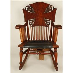 Carved Wooden Rocking Chair