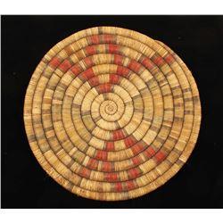 """Hopi 15"""" Coil Polychrome Basketry Tray"""