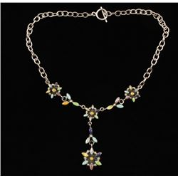 Multi Colored Floral Necklace in Sterling