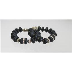 2 Bold ROCKE Designer Black Beaded Bracelets