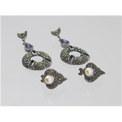 2 Pair of Sterling Silver Earrings