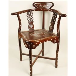 Rosewood Mother of Pearl Inlaid Chair