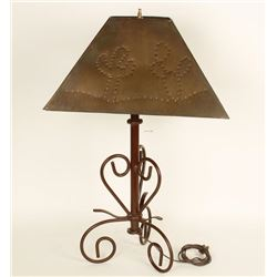 Copper Shade Lamp with Cactus Motif