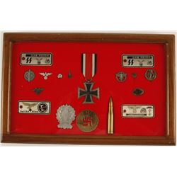 Display Case of German WWII Repro Memorabilia