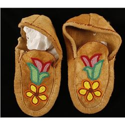Native American Unlined Leather Beaded Moccasins