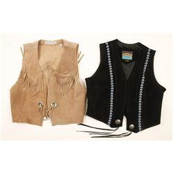 Two Suede Ladies Western Vests