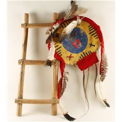 Native American Crafted Banner and Hogan Ladder.