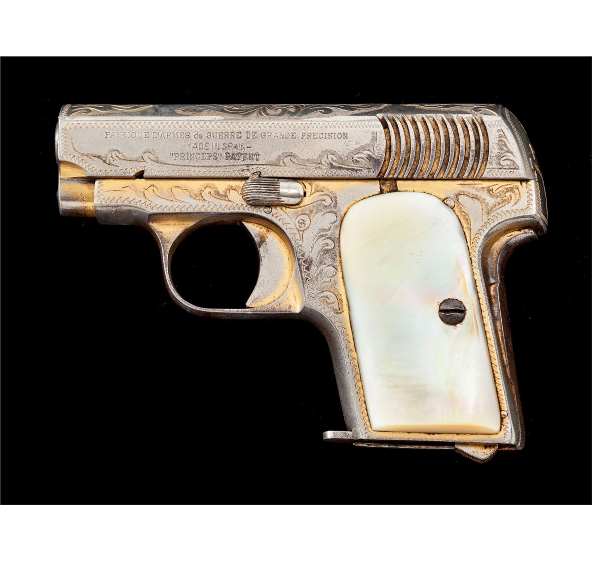 Factory Eng'd/Gold Plated Spanish Princeps Pistol