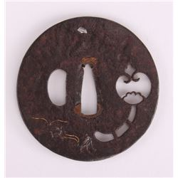 19th Century, Japanese Samurai Tsuba sword guard inlaid