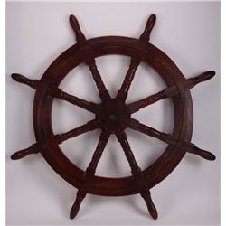 19th Century, very large nautical wood ship wheel.