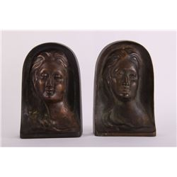 "Art Deco bronze book ends signed ""Gormley"".  (Size: See"
