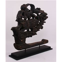 19th Century Siam wooden ship decorative mount.  (Size: