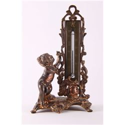 19th Century, bronze thermometer.  (Size: See