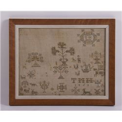 19th Century early American silk on wool sampler with
