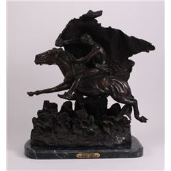 "Horse thief"" Bronze Sculpture - After Remington -"