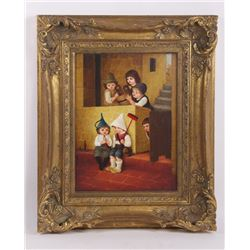 Early 20th Century Dutch oil on board painting.  (Size: