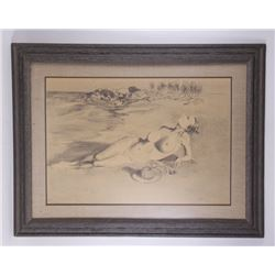 """Nude pencil on paper drawing signed """"Federico"""".  (Size:"""