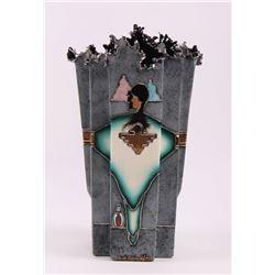 Bill Stadefer, Native American Sante Fe metal vase.  It