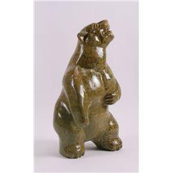 Early Inuit art of a growling standing polar bear.