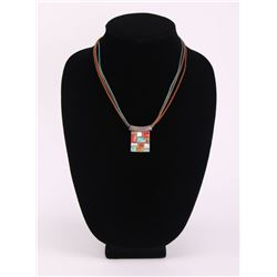 Native American Zuni sterling silver pendant necklace.