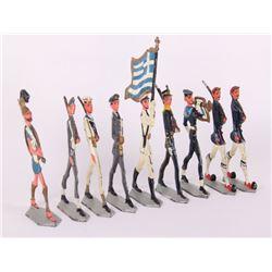 Nine (9) vintage Greek lead toy soldiers.  (Size: See