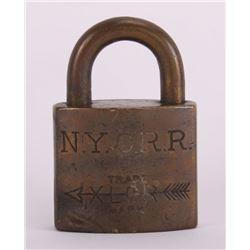 Antique New York City Rail Road N.Y.C.R.R. lock stamped