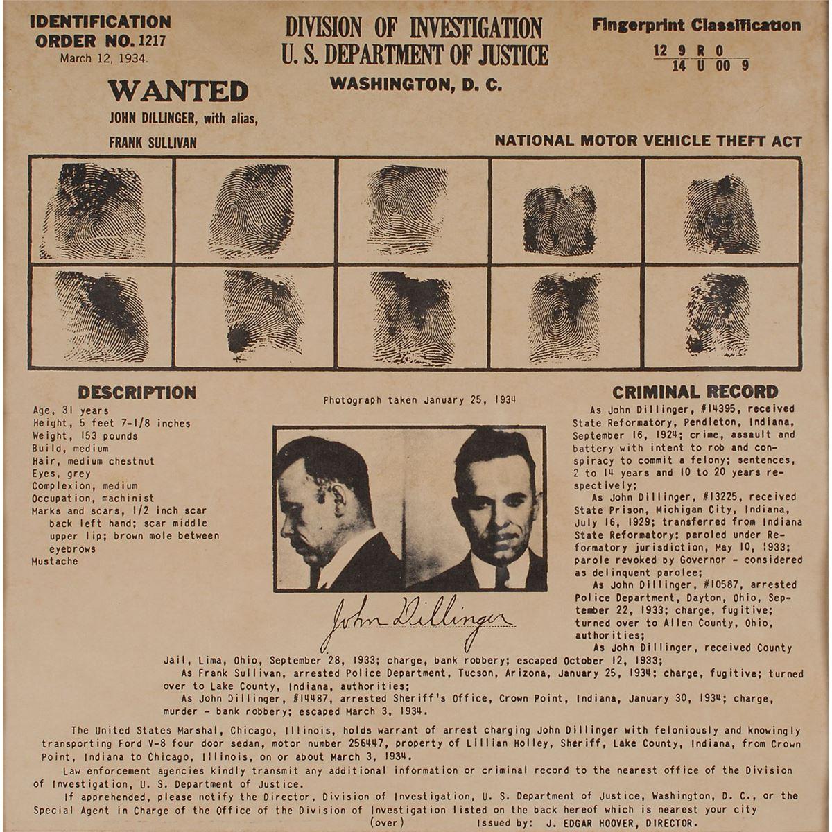 John Dillinger and J  Edgar Hoover