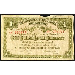 "Yokohama Specie Bank, Limited, 1924 ""Tsingtau"" Branch Banknote."