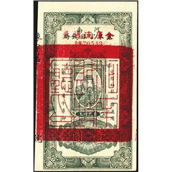 Honan Province Treasury overprinted on Provincial Bank of Honan, 1920's ND Provisional Issued printe