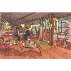 "Concept Marker Rendering ""Cafe Nervoso"" by Ron Croci for Frasier"