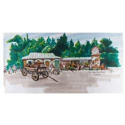 """Rodgers & Hammerstin's Cinderella Concept Marker Rendering """"Train Station Marketplace"""" by Ron Croci"""