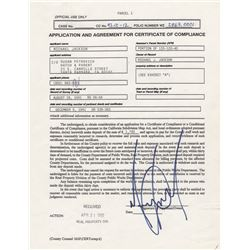 Michael Jackson Signed Certificate of Compliance for Neverland Ranch
