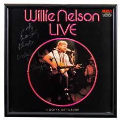Willie Nelson Live Autographed Album Framed