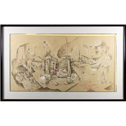 Hal Prince Signed Stage Production Design Drawing