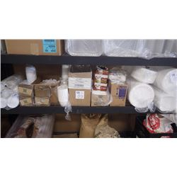 UNUSED COFFEE CUPS, COFFE CUP SLEEVES, LIDS, PLASTIC CUPS, 3/4 FULL BOX OF SURGAR PACKAGES, STYROFOA